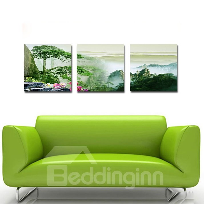 Fantastic Pine trees 3-Pieces of Crystal Film Art Wall Print