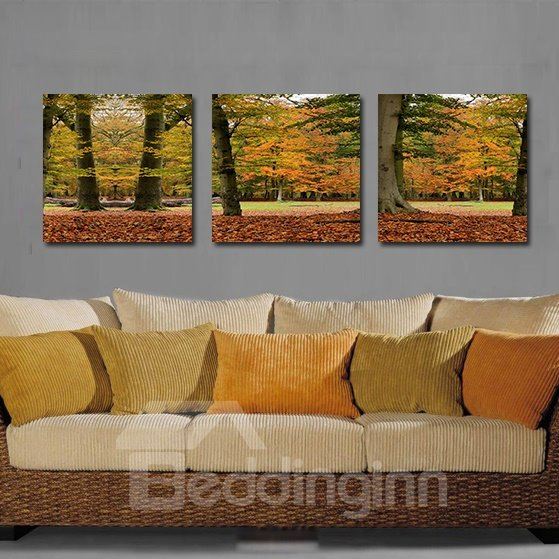Pretty Maple Leaves 3-Pieces of Crystal Film Art Wall Print