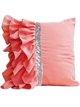 High Quality Pink Flounce Pattern Throw Pillow