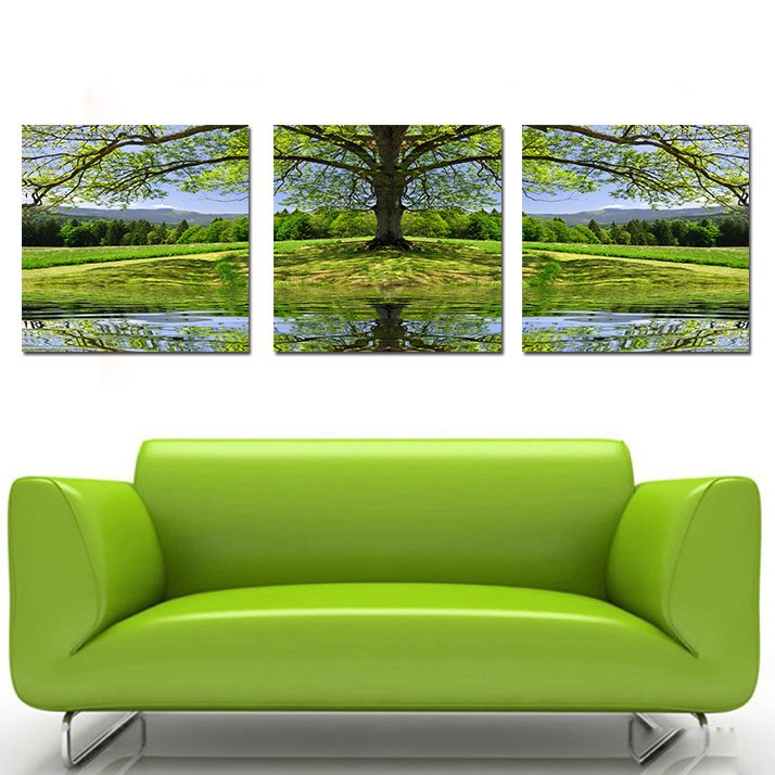 Green Grass and Tree  3-Pieces of Crystal Film Art Wall Print