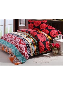 Top Class Red Flower and Exotic Pattern 4-Piece Reversible Cotton Duvet Cover Sets