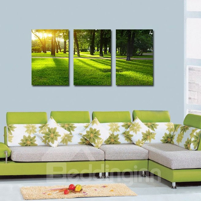 Pretty Grassland 3-Pieces of Crystal Film Art Wall Print