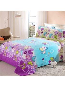 Fairtale Style Romantic Color Heart Shape Pattern Flannel Sheet