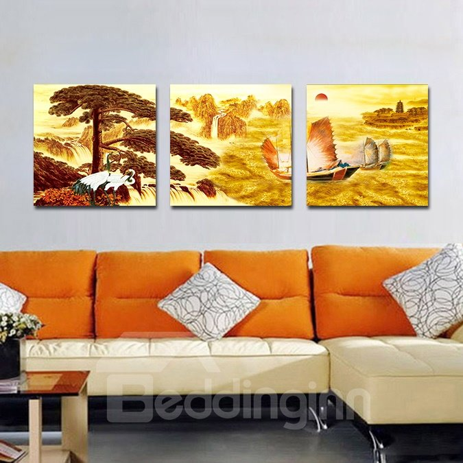 Everything is Going Smoothly 3-Pieces of Crystal Film Art Wall Print