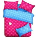 Cute Little White Polka Dot with Red Background Reversible 4-Piece Cotton Duvet Cover Sets