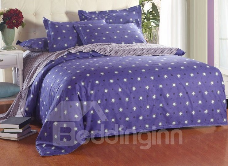 black and white polka dot with blue background reversible 4 piece cotton duvet cover sets. Black Bedroom Furniture Sets. Home Design Ideas