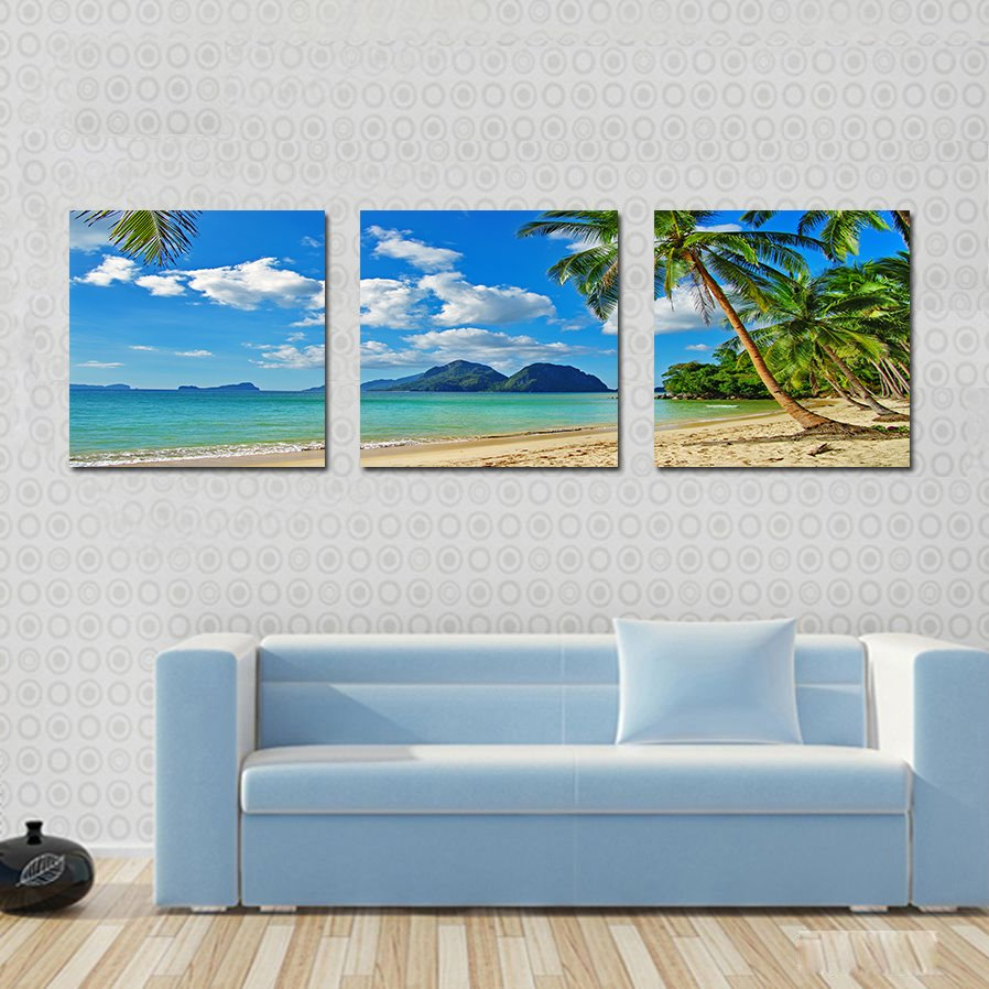 Beautiful Coastal Beach 3-Pieces of Crystal Film Art Wall Print