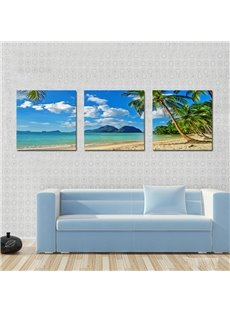Beautiful Coastal Beach 3-Pieces of Crystal Film Art Wall Print