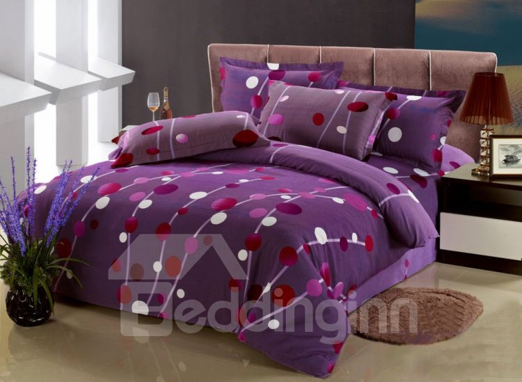 purple polka dot pattern 4 piece cotton duvet cover sets. Black Bedroom Furniture Sets. Home Design Ideas