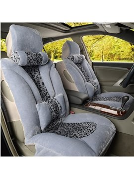 Super Cool Excellent Combination of Leopard and Short Plush Car Seat Cover
