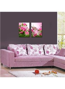 New Flowers and Butterflies 2-Pieces of Crystal Film Art Wall Print