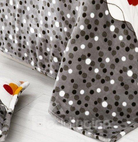 Funny  Super Soft Colorful Wave Dot Print 4-Piece Coral Fleece Duvet Cover Sets