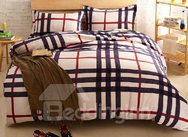 Skincare Red and Black Srtip Crossing Print 4-Piece Duvet Cover Sets