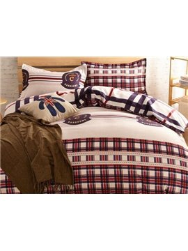 Classical Bold Checks Print 4-Piece Duvet Cover Sets