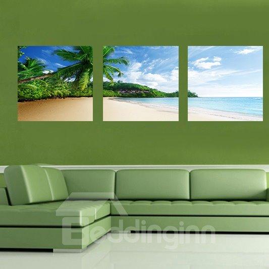 Beautiful Beach 3-Pieces of Crystal Film Art Wall Print