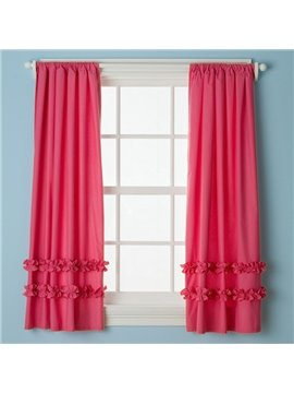 New Arrival High Quality Rose Falbala Customize Cotton Curtain