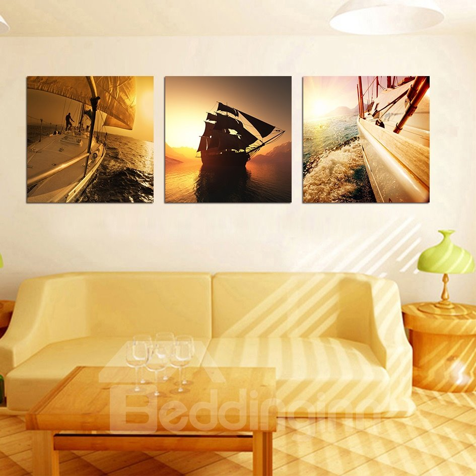 New Classic Pretty 3-Pieces of Crystal Film Art Wall Print