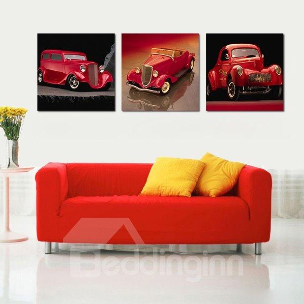 Pretty Cars 3-Pieces of Crystal Film Art Wall Print