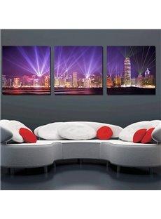Beautiful Night Scene 3-Pieces of Crystal Film Art Wall Print