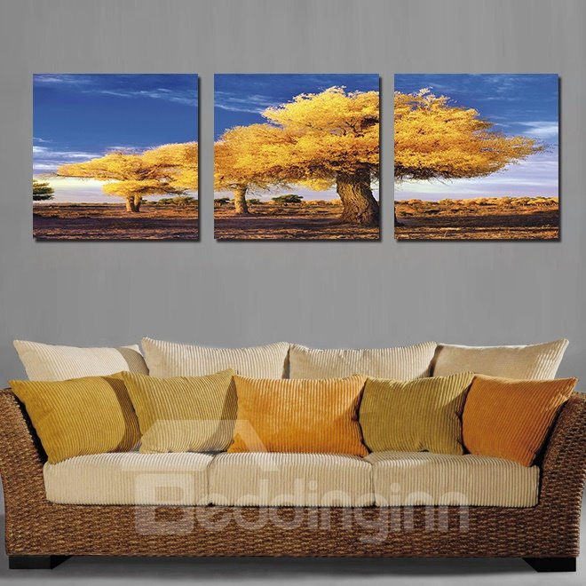 Amazing Yellow Tree 3-Pieces of Crystal Film Art Wall Print
