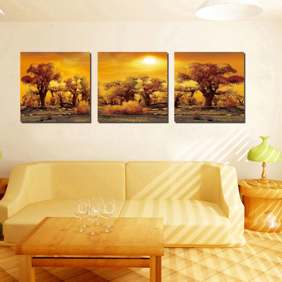 Best Selling Dusk 3-Pieces of Crystal Film Art Wall Print