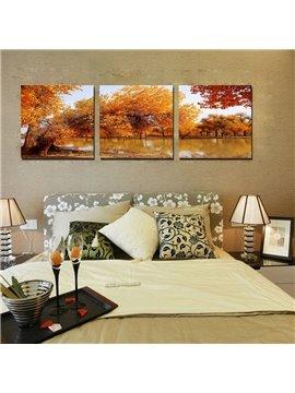 Beautiful Autumn Lake 3-Pieces of Crystal Film Art Wall Print