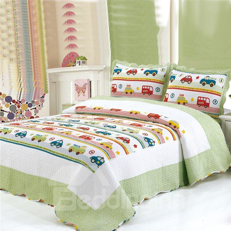 Super Fresh Kinds of Cars Pattern Green Border Bed in a Bag