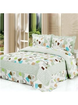 Romantic Colored Heart Pattern Light Green Bed in a Bag Sets