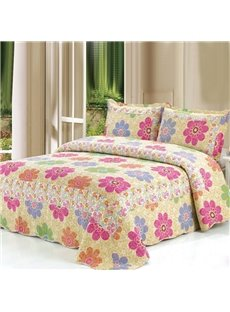 Romantic Bright Color Flowers Pattern Bed in a Bag Set