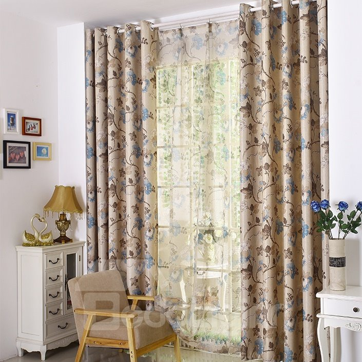 Elegant Floral Pattern Printing Linen Custom Made Curtain