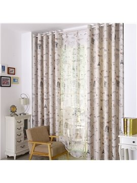 Romantic Paris Printing Linen Blackout Custom Curtain