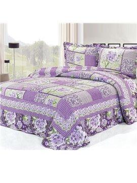 Romantic Purple Flowers Pattern Bed in a Bag Set