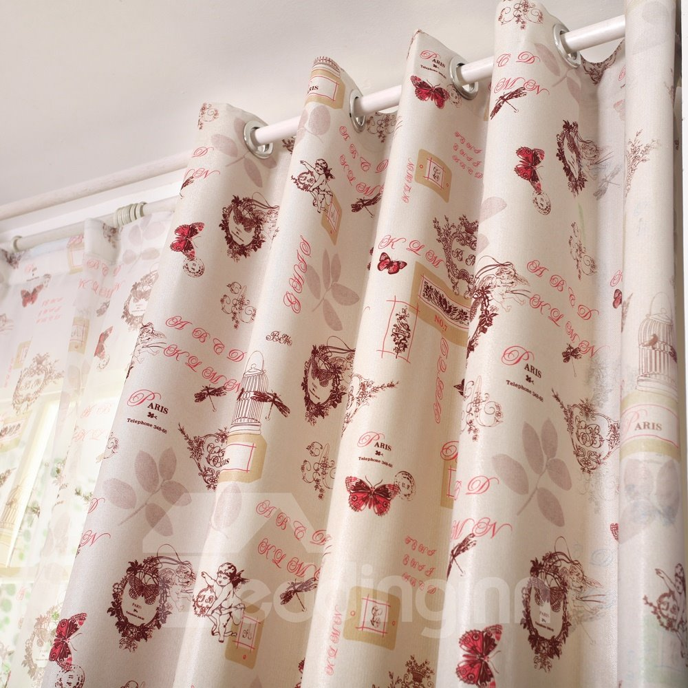 Unique Multi-Element Design Printing Linen Custom Curtain