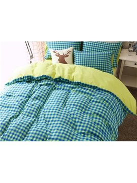 Minimalist Green Grid Print 4-Piece Combed Cotton Duvet Cover Sets