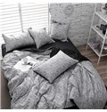 Modern Black and White Leopard Print 4-Piece Cotton Duvet Cover Sets