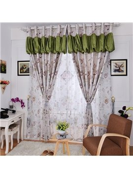 Graceful Multi-Element Pattern Linen Blackout Custom Curtain