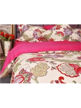 Secret Garden Bright Red Flower Print 4-Piece Cotton Duvet Cover Sets