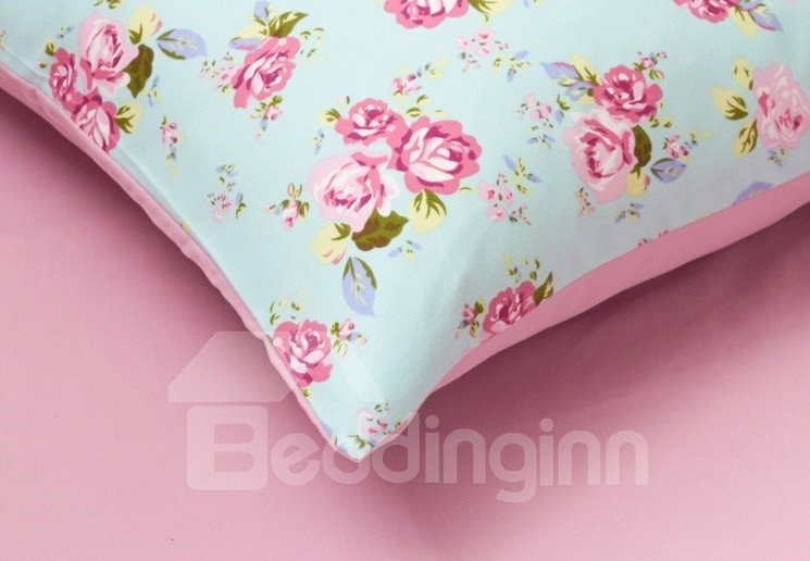 Beautiful Red Rose Pattern 4-Piece Cotton Duvet Cover Sets
