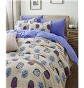 Elegant Blue Leaves Pattern 4-Piece Cotton Duvet Cover Sets