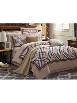 Classical Grid with Floral Border 4-Piece Cotton Duvet Cover Sets