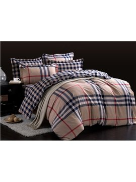 Top Class Blue and Red Grid Pattern 4-Piece Cotton Duvet Cover Sets