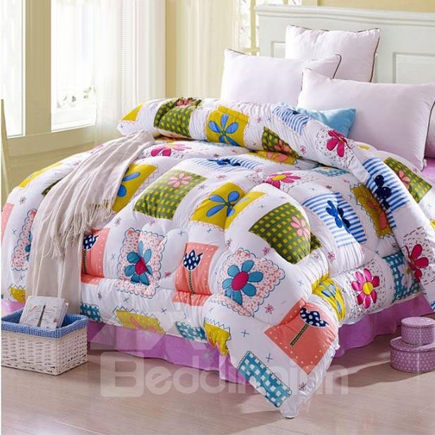 Super Fresh Bright Color Flowers Pattern Thicken Quilt