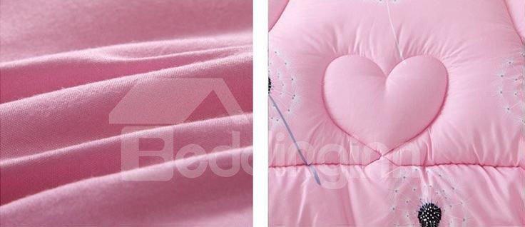 Romantic Black Dandelion Pattern Pink Thicken Quilt