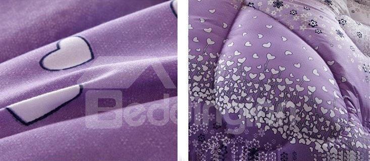 Stylish White Heart Shape Pattern Purple Border Thicken Quilt