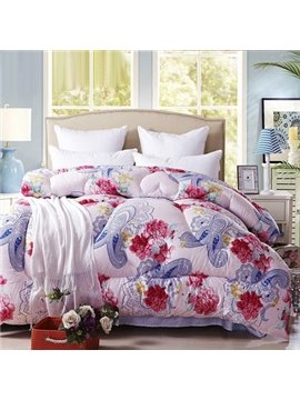 Concise Style Red and Blue Rose Flowers Light Pink Thicken Quilt