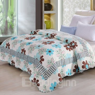 Fresh Flower Petal Print Coffee Color Stripes Comfortable Quilt