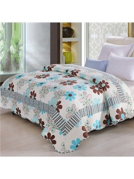 Fresh Flower Petal Print Coffee Color Stripes Comfortable Quilt