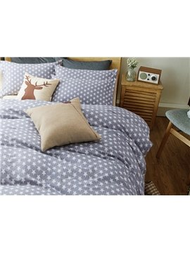Super Soft White Five-Pointed Star with Gray Ground Cotton 4-Piece Duvet Cover Sets