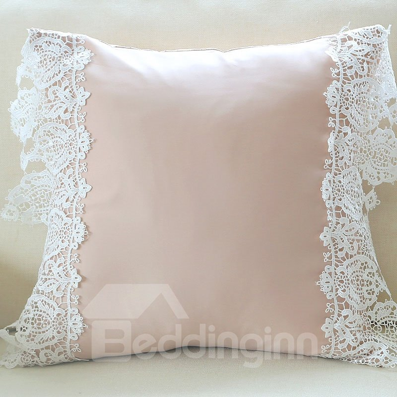 High Quality Luxury White Lace Border Nude Throw Pillow 11052243