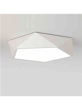Beautiful Fantastic White Electroplated Finish Polygon Shape Flush Mount